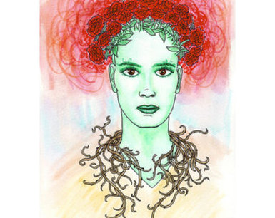 A color pencil rendering of a makeup design.