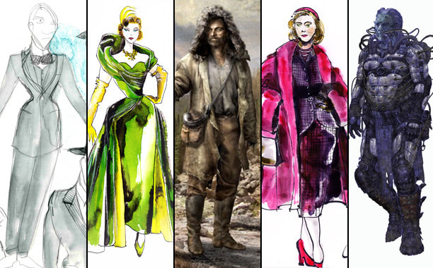 a collection of costume design redernings